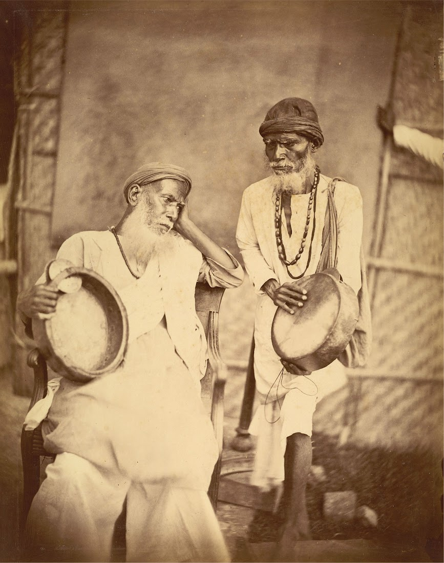 Two Darwash (Dhara Wala) with Tambourine-Like Instruments - Eastern Bengal 1860's