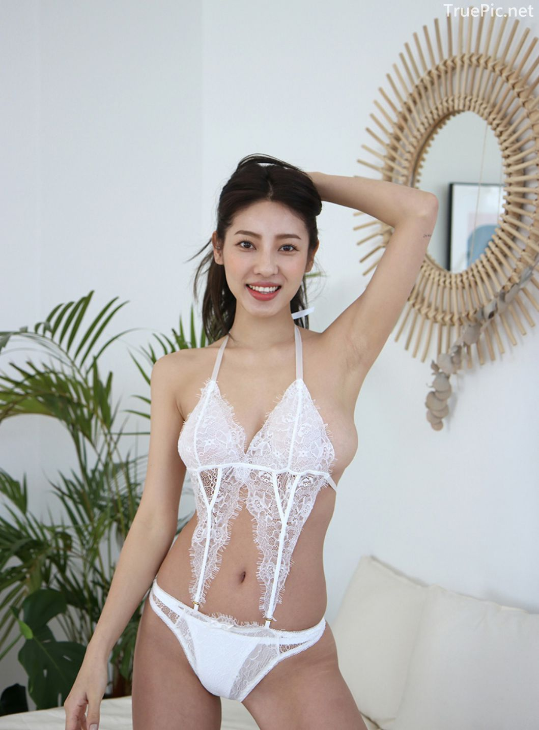 Jeon Ji Su - Bohemian lace white Lingerie - Korean model and fashion - Picture 7