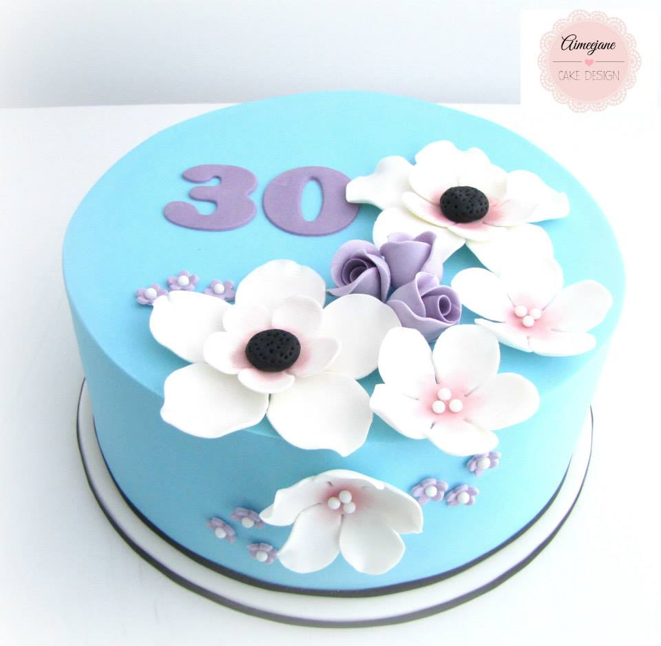 Blue Purple Flower 30th Birthday Cake