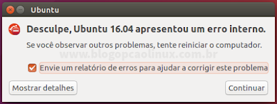 Mensagem de erro do Apport no Ubuntu 16.04 LTS