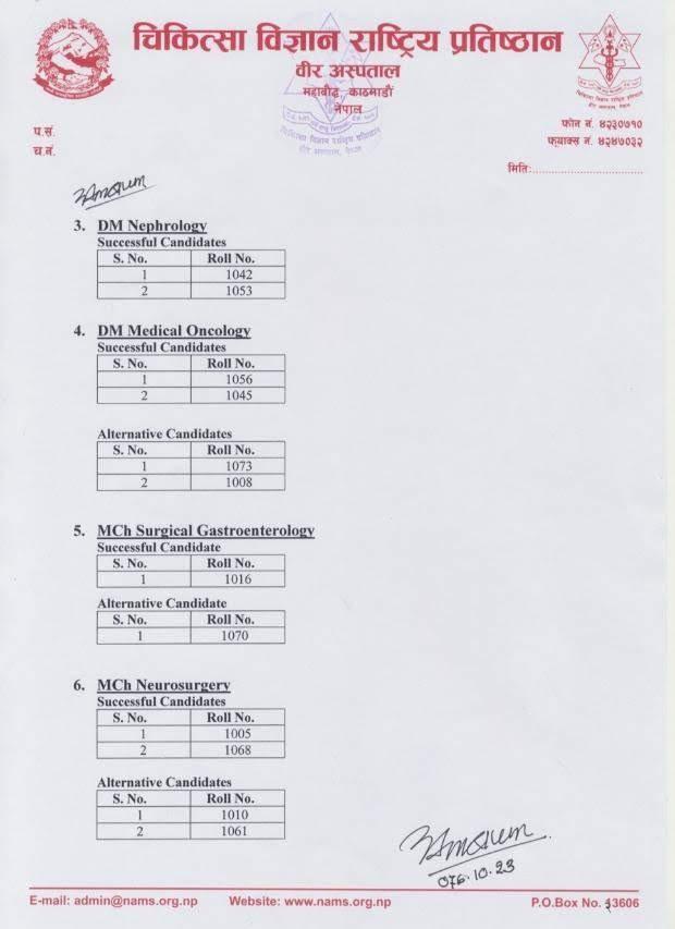 NAMS DM/MCH Entrance Results 2076