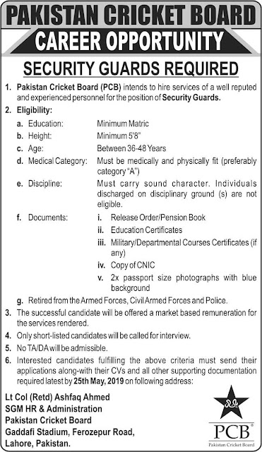 Pakistan Cricket Board PCB Jobs latest 2019 For Security Guards