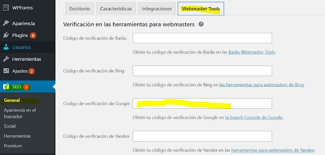 La cuarta pestaña que aparecerá dice Webmaster Tools y en el apartado que dice Código de verificación de Google vamos a pegar el código que hemos copiado previamente en Google Search Console. Y luego damos clic en Guardar Cambios.