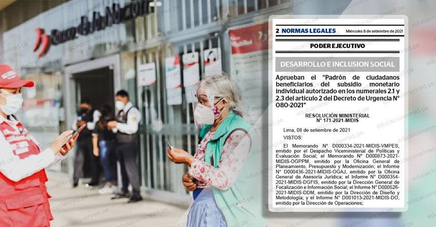 Gobierno aprobó el padrón de los beneficiarios del Bono Yanapay Perú (R. M. N° 171-2021-MIDIS)