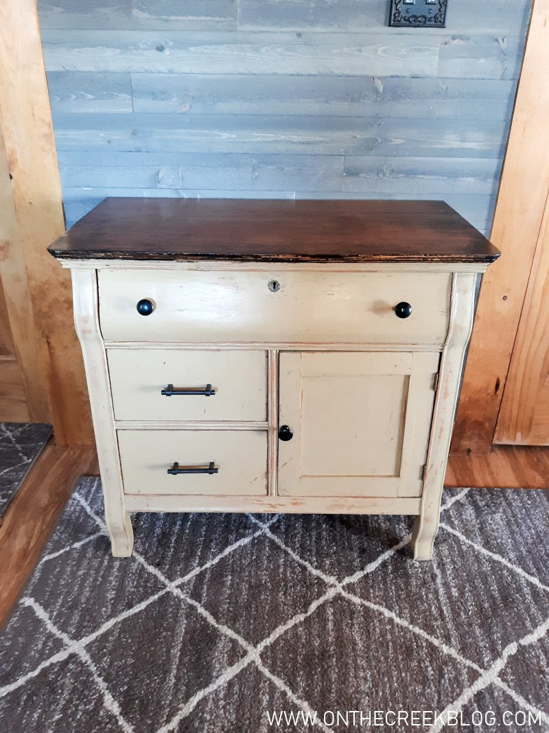 A rustic painted wash stand makeover! | On The Creek Blog