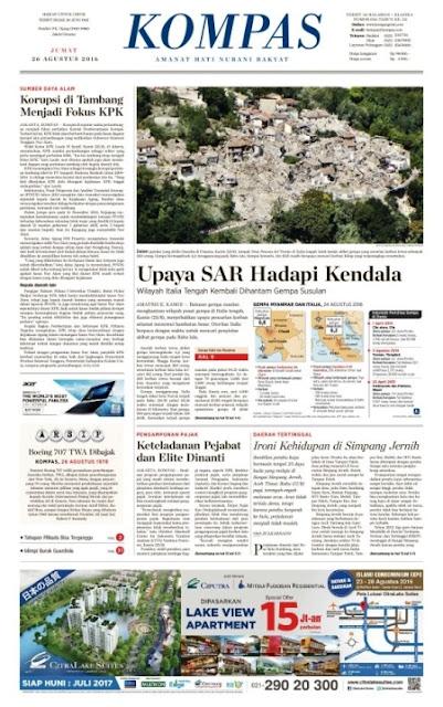 Kompas Edisi Jumat 26 Agustus 2016