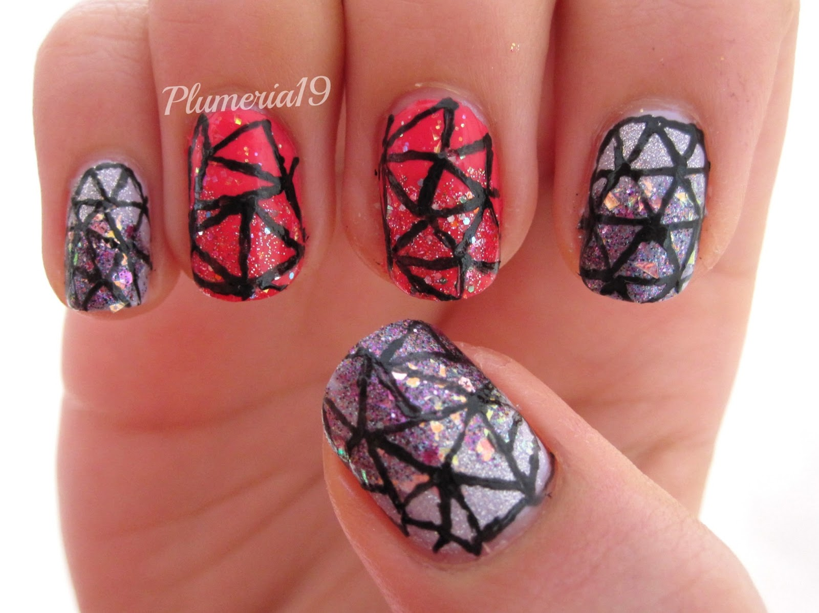 Long Pink Nails With Diamond Design Nails T Diamond