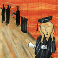 """The Scream"" painting with caps and gowns"
