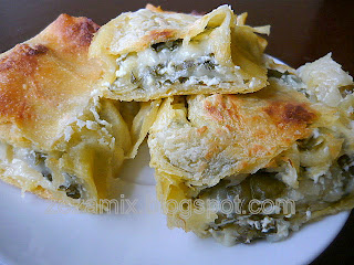 Salty chard and cheese strudel