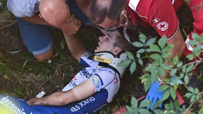 Ciclismo: grave incidente per Evenepoel