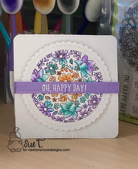 Oh happy day by Sue T. features Floral Roundabout, Circle Frames, and Square Die by Newton's Nook Designs; #newtonsnook