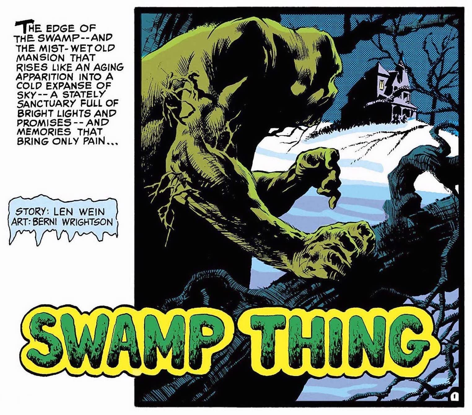 Swamp Thing lurking by a tree, gazing at house on a hill