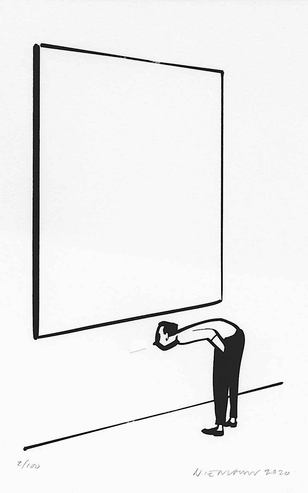 Christoph Niemann art, a man reading tiny words under large art in a gallery