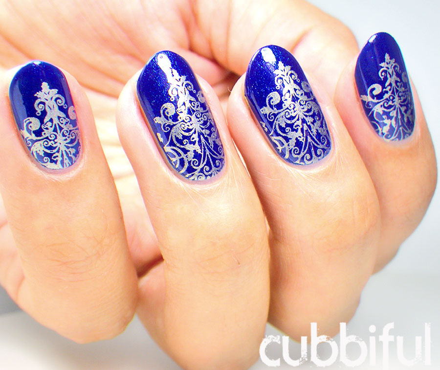 Gold Stamping in Royal Blue Nails
