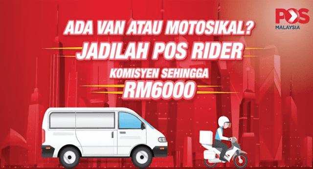 jawatan kosong rider 2020 pos malaysia