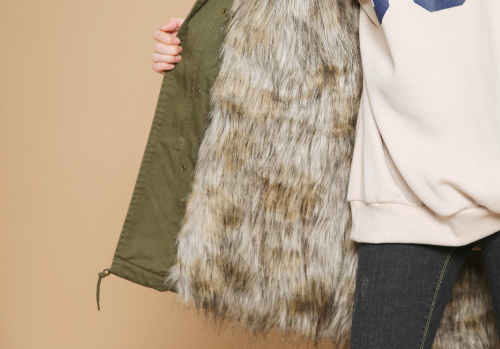 Faux Fur-Lined Field Jacket