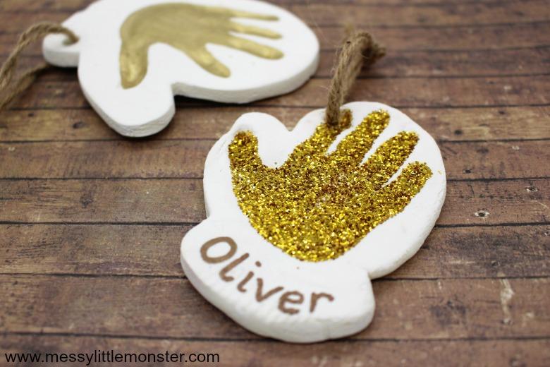 clay mitten handprint winter craft for kids