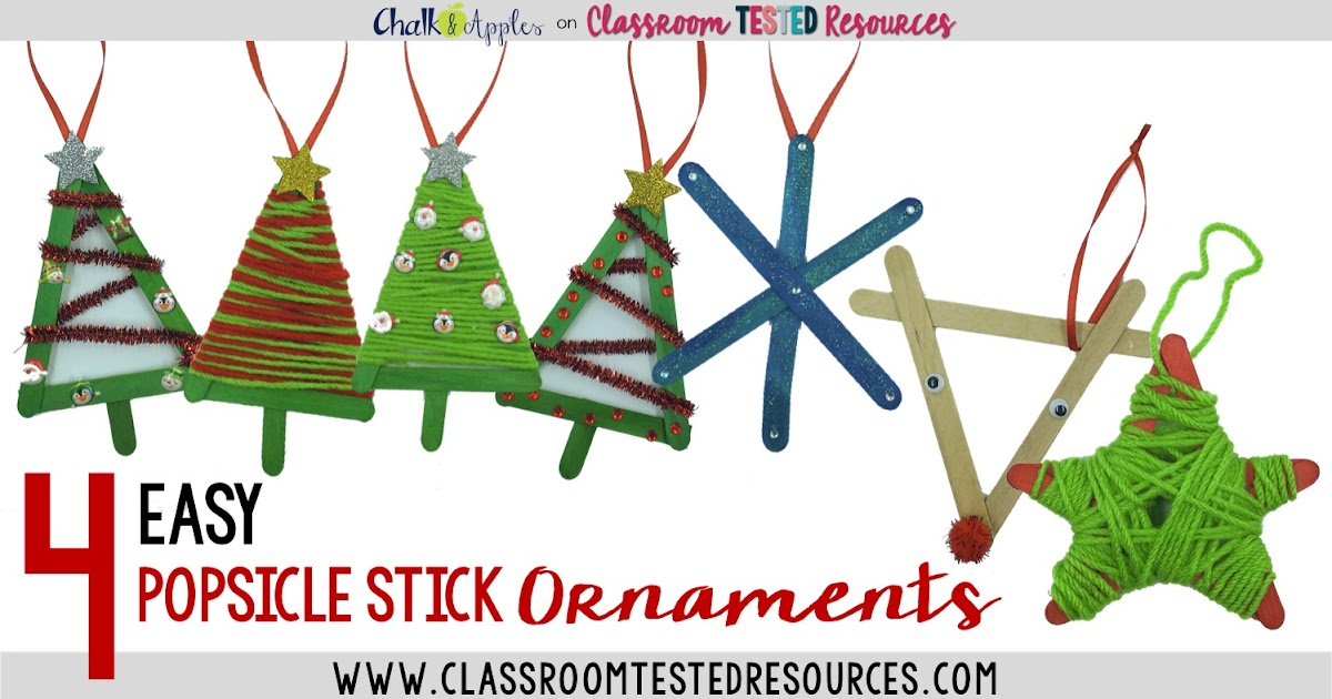 4 Easy Popsicle Stick Christmas Ornaments   Classroom ...