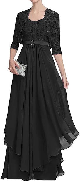 Eelgant Black Mother of The Bride Dresses