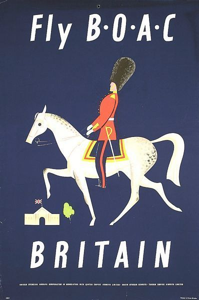FLY B.O.A.C - Britain Vintage Travel Poster