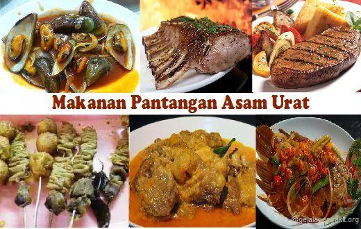 Diantara makanan pantangan asam urat adalah jeroan, hewan laut seperti kerang, daging, kacang - kacangan dan lainnya.