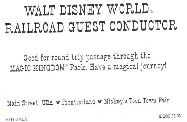 Walt Disney World Railroad Guest Conductor Card Back Side
