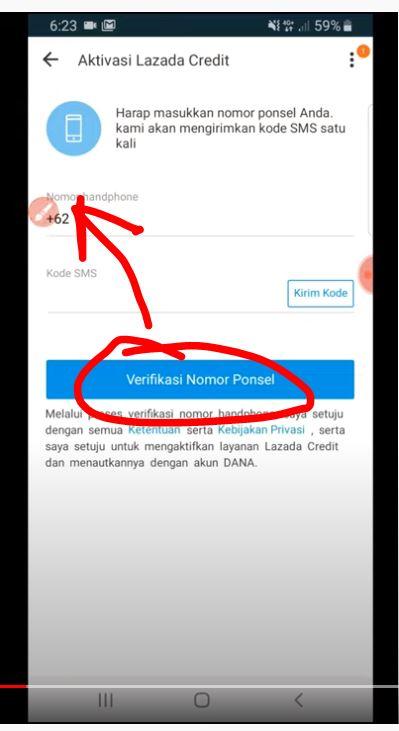 Verifikasi nomor ponsel Lazada Credit Dana
