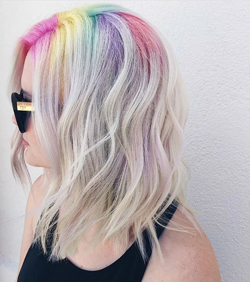 rainbow color hairstyle for female
