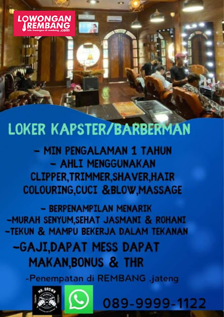 Lowongan Kerja Kapster/Barberman Mr Brown Barbershop and Coffeeshop Rembang