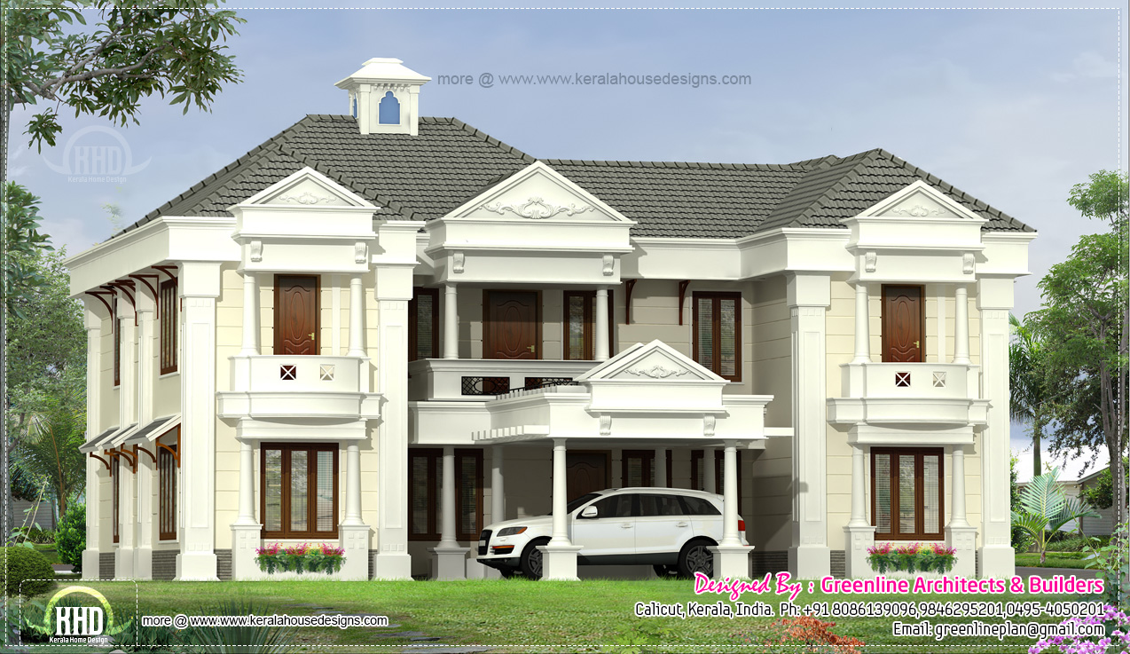 5 bedroom colonial style home design elevation for Colonial style home design in kerala
