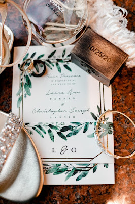 wedding invitation with decor