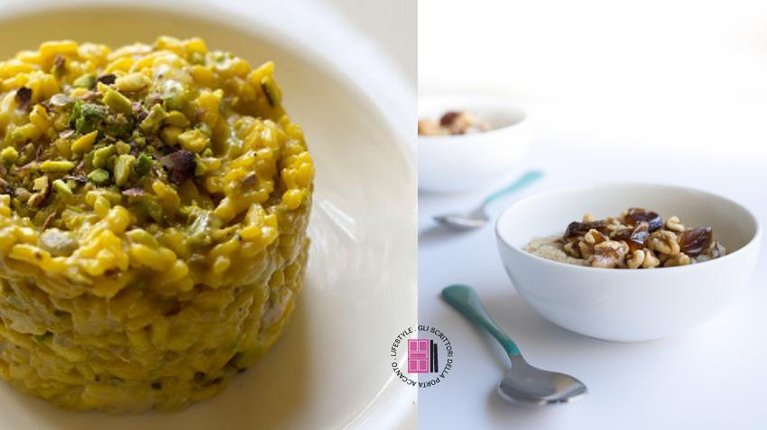 Ricette vegan: risotto con verdure grigliate e pistacchi e risotto dolce con frutta secca, datteri e fichi