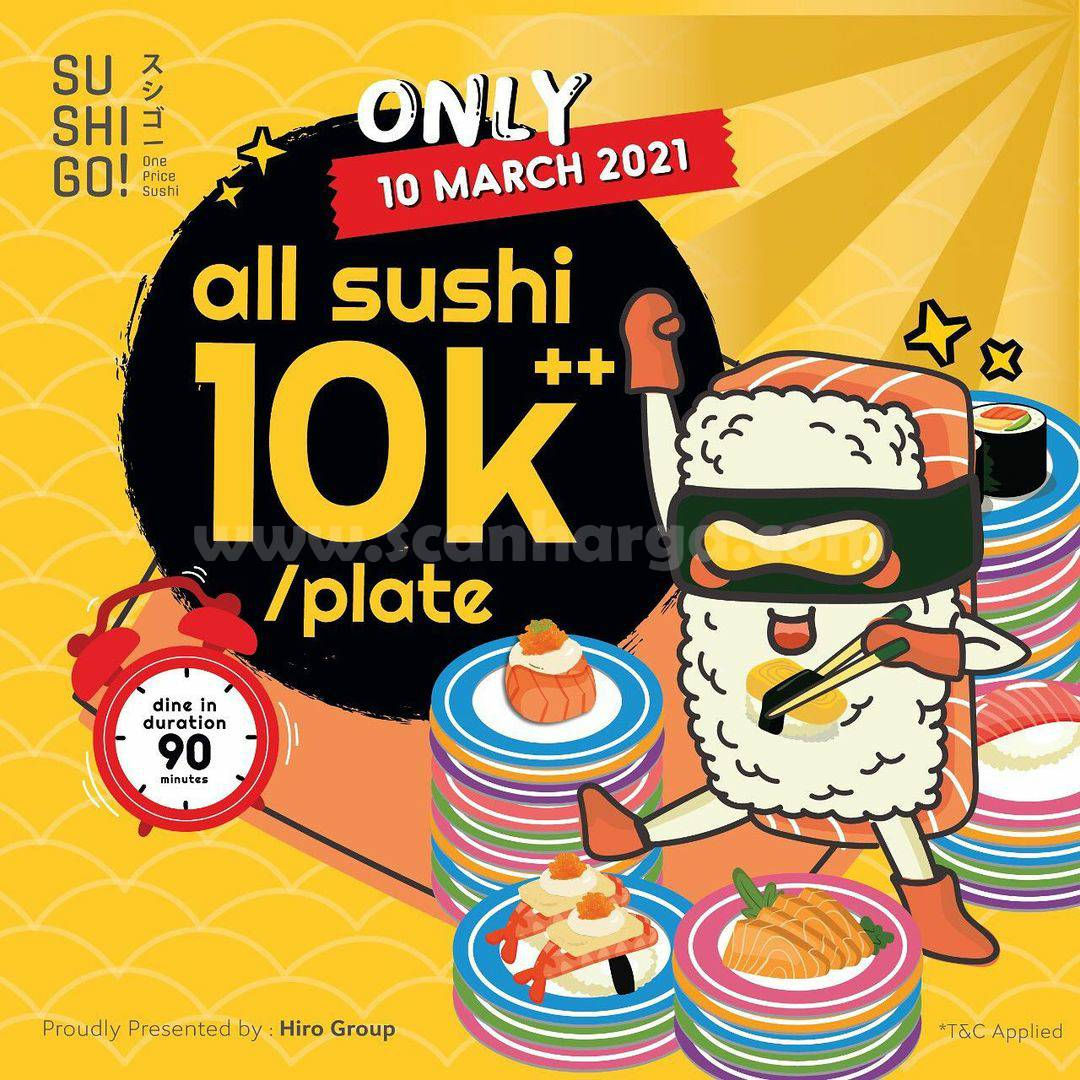 Promo SUSHI GO! Special ALL SUSHI only Rp 10.000++ per plate