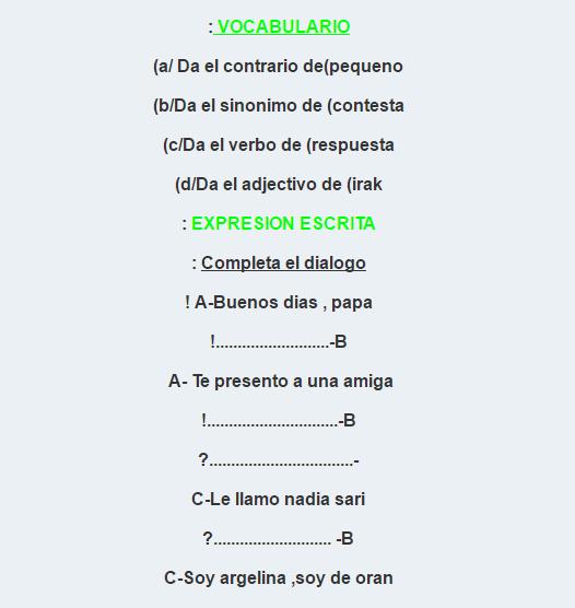 اللغة الإسبانية للسنة الثانية ثانوي, فروض واختبارات اللغة الإسبانية للسنة الثانية ثانوي