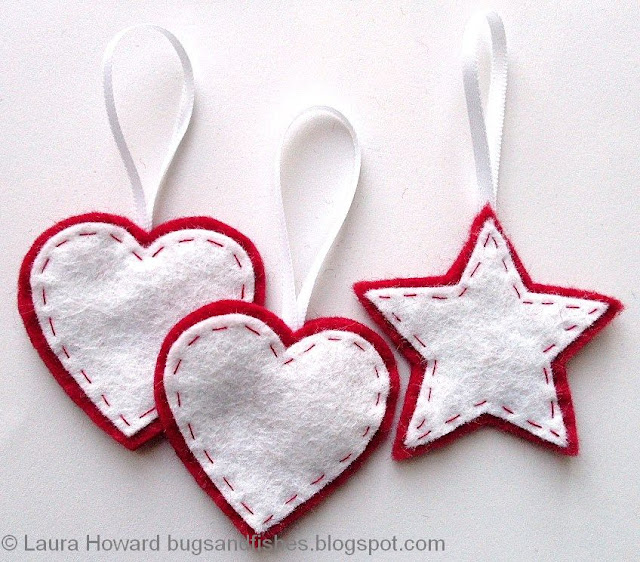 felt heart and star ornaments