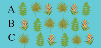 Figure: In each row there are pairs of mirrored plant prints, but one row does not contain perfectly mirrored prints. Which one is it?