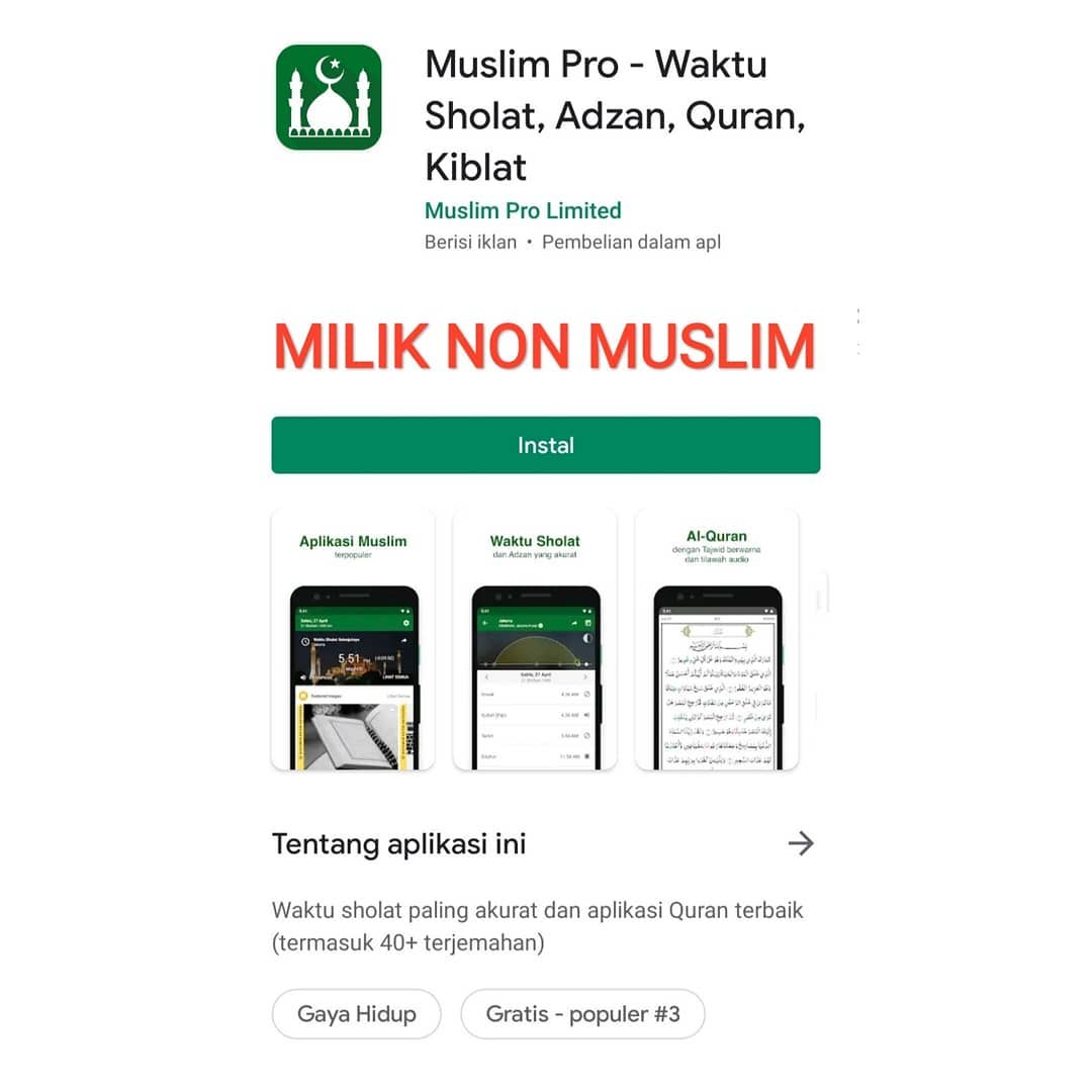 Aplikasi Muslim Pro Ternyata Milik Non Muslim