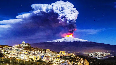 Eruptions are a regular occurrence on the Mount Etna volcano - this spectacular shot was taken in January this year