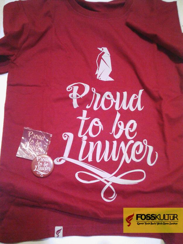 Kaos T-Shirt bertema Linux berkualitas distro bonus pin & sticker dari FossKultur