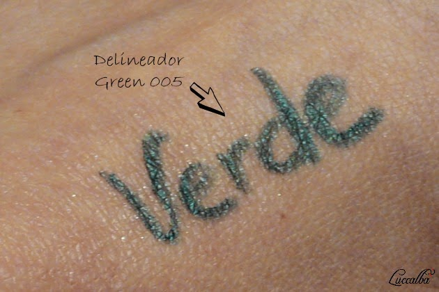Swatch delineador Green 005 de Lola Make Up