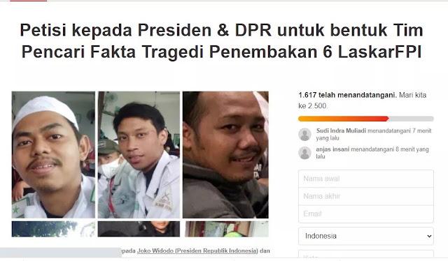 Petisi Presiden dan DPR RI Bentuk Tim Pencari Fakta Penembakan 6 Laskar FPI Bermunculan
