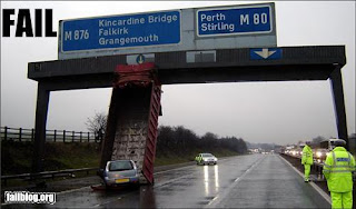scottish motorway crash with upended lorry