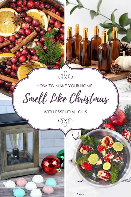 How to make your house smell like Christmas. Use natural ingredients and essenital oils in these recipes. This includes several DIY recipes for candles, wax melts, simmering potpourri, air fresheners, sprays, and more ideas to make your home smell great for entertaining. Lift your spirit and make hour house smell good with cinnamon, fruits, spice, orange, clove, and even a pine tree and greenery. #essentialoils #christmas