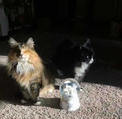 Maggie and Lucy with their snow globe