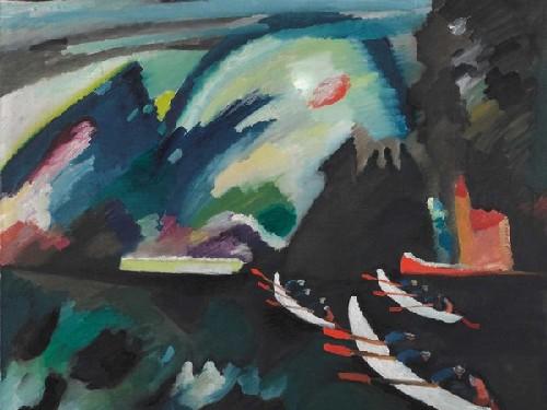 vasilij kandinskij, lago, 1910, olio su tela