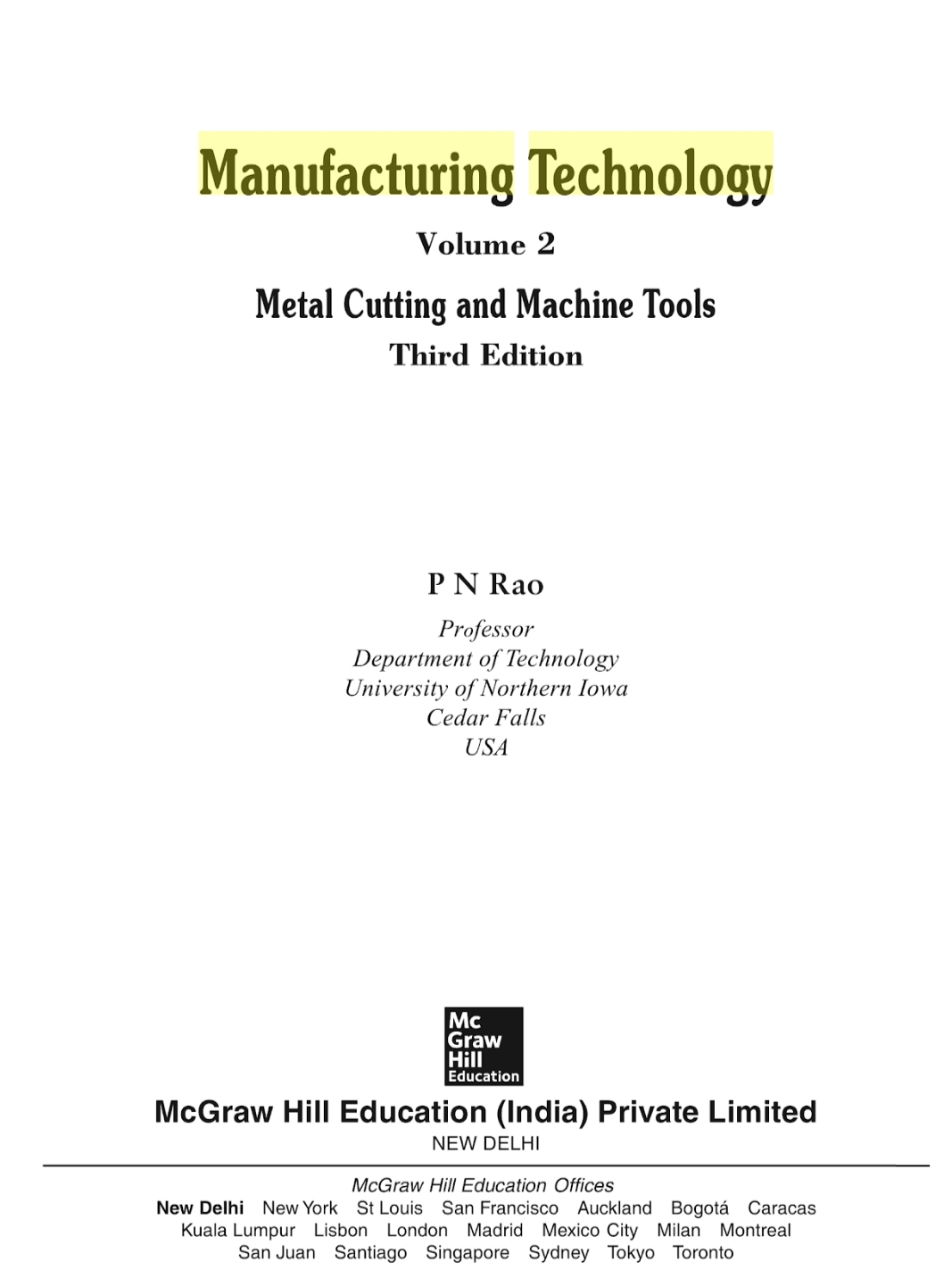 Manufacturing Technology Volume 2 Pdf