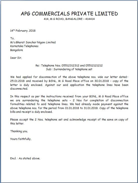 Telephone Surrender Letter Sample Format For Bsnl And Mtnl