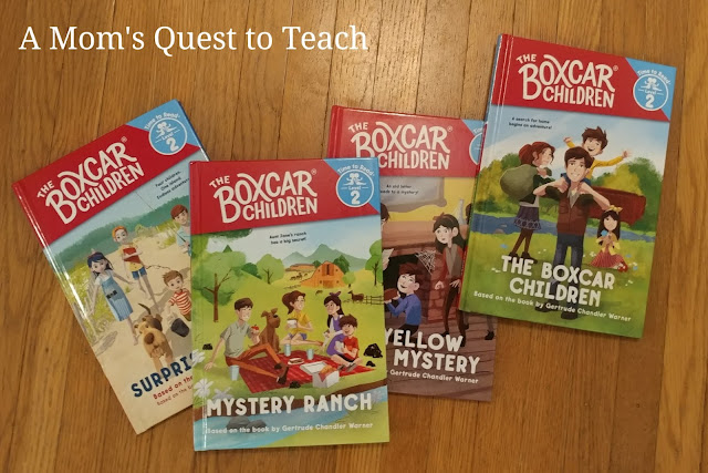 photograph of the following hardcover books - Mystery Ranch, The Boxcar Children, The Yellow House Mystery, and Surprise Island