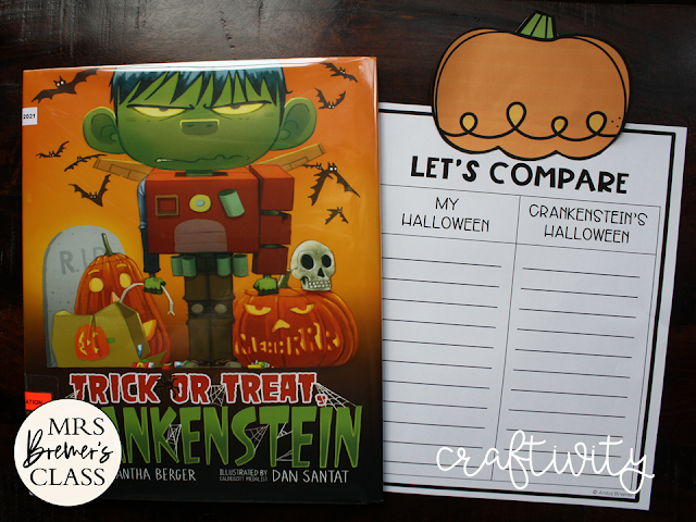 Trick or Treat Crankenstein book activities unit with Common Core aligned literacy companion activities, class book, and craftivity K-1