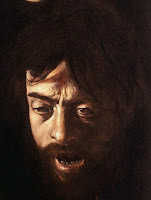 Caravaggio's Self Portrait as Severed Head of Goliath in 'David and Goliath' painting c.1610 in Galleria Borghese, Rome